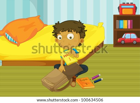 Illustration of a boy packing his schoolbag in his bedroom - EPS VECTOR format also available in my portfolio. - stock photo