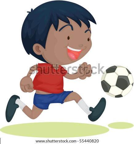 Illustration of A Boy Playing Football on white background
