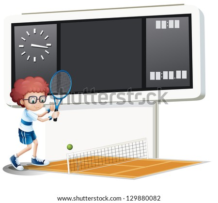 Illustration of a boy playing tennis on a white background - stock photo