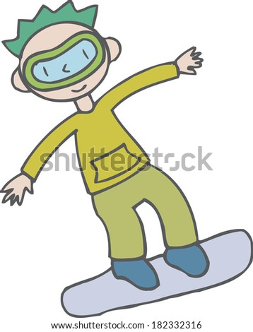 Illustration of a boy snowboarding