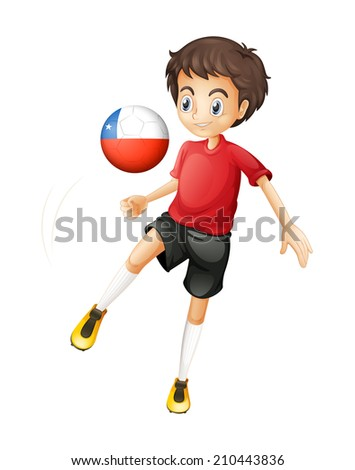 Illustration of a boy using the ball from Chile on a white background