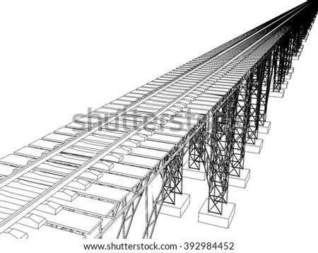 illustration of a bridge with metro on white 7 - stock photo