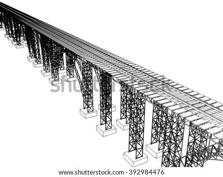 illustration of a bridge with metro on white 5 - stock photo