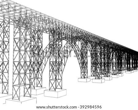 illustration of a bridge with metro on white 1 - stock photo