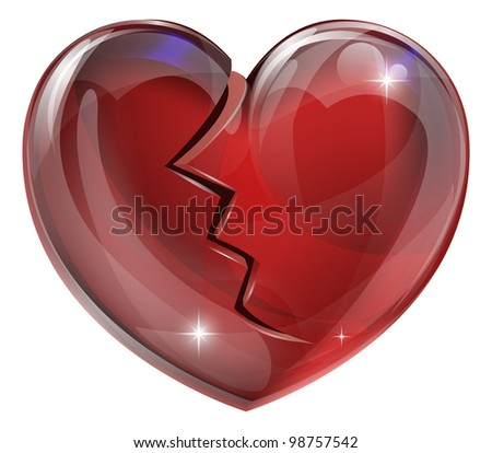 Illustration of a broken heart with a crack. Concept for heart disease or problems, being heartbroken, bereaved or unlucky in love. - stock photo