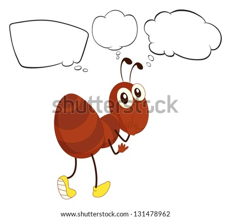 Illustration of a brown an with empty thoughts on a white background
