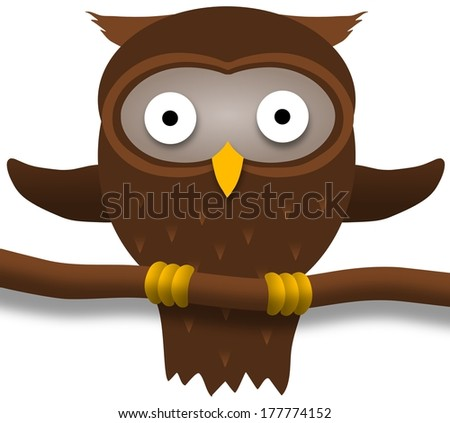 illustration of a brown owl perched on a branch