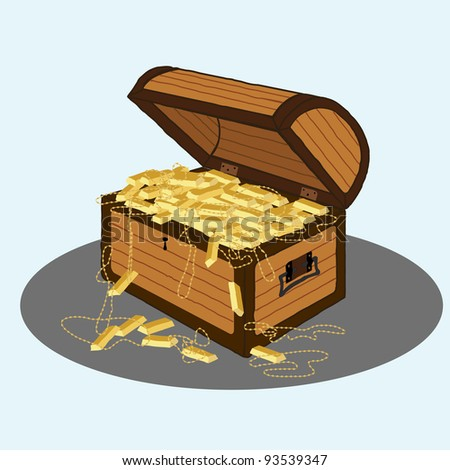 illustration of a brown wooden treasure chest with golds, necklace, coins and treasures inside isolated. - stock photo