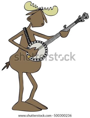 Illustration of a bull moose playing a banjo.