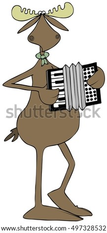 Illustration of a bull moose playing an accordion.