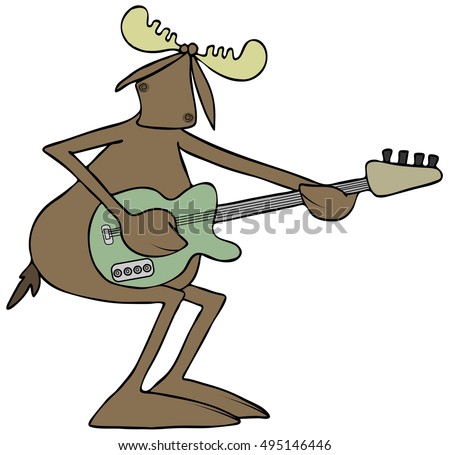 Illustration of a bull moose playing an electric guitar.