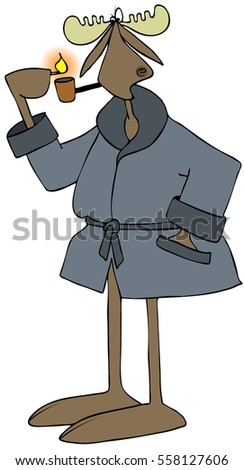 Illustration of a bull moose wearing a blue robe and lighting his pipe with a match.