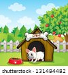 Illustration of a bulldog outside its dog house with a dog food - stock vector