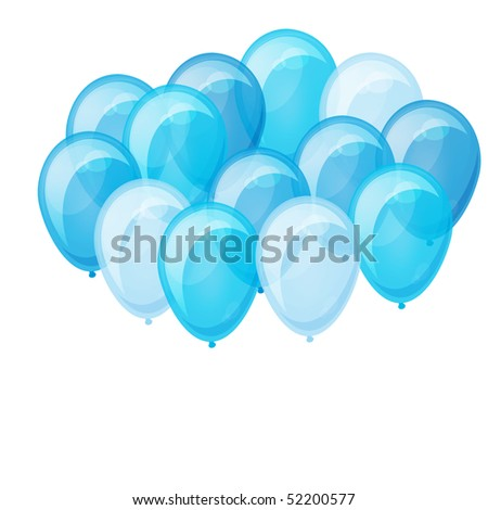 Illustration of a bunch of blue balloons flying up. - stock photo