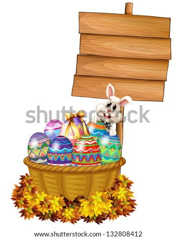 Illustration of a bunny and a basket with eggs near a signage on a white background
