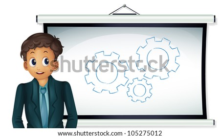 Illustration of a business man presenting cogs