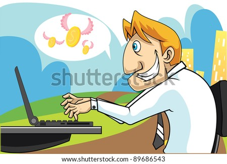 Illustration of a business man who is making money  from his computer - stock photo