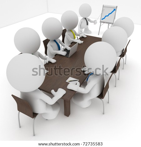 Illustration of a business meeting with a man presenting a flipchart showing a positive trend.  Part of my cute little people series. - stock photo