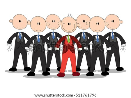 illustration of a business stick human wear different uniform infront of other similar businessman group