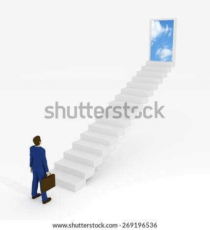 Illustration of a Businessman begining of a destination to a better place - stock photo