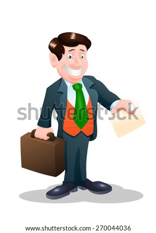 illustration of a businessman hold blank card on his hands on isolate white - stock photo