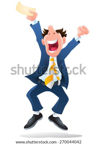 illustration of a businessman hold winning lottery ticket on isolate white - stock photo