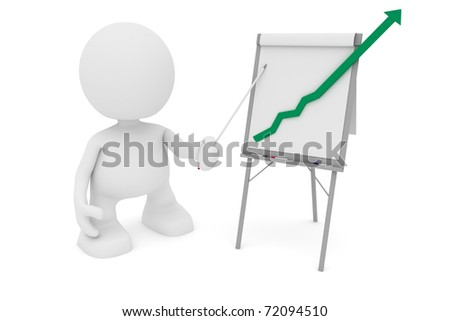 Illustration of a businessman presenting at a flipchart showing a positive trend going off the chart.  Part of my cute 3D people series. - stock photo