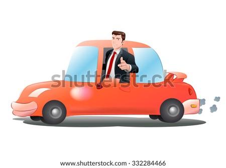 illustration of a businessman riding orange car over isolated white background - stock photo