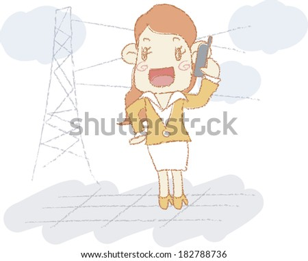 Illustration of a businesswoman talking on her cell phone - stock photo