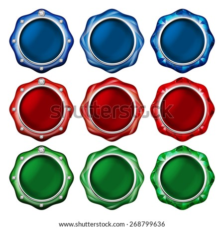 Illustration of a button of the jewel. / Blue, red, green. Vivid color.