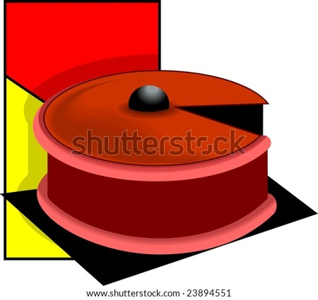 Illustration of a cake with cherry on top