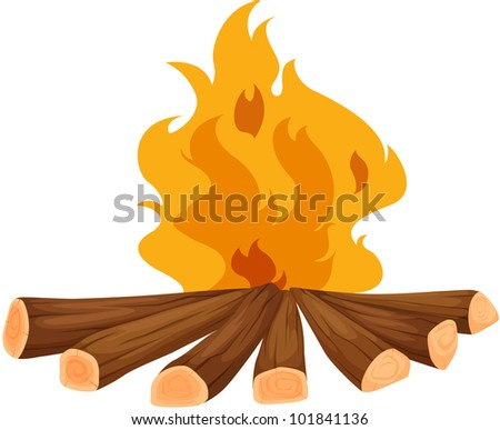 Illustration of a campfire on white - EPS VECTOR format also available in my portfolio. - stock photo
