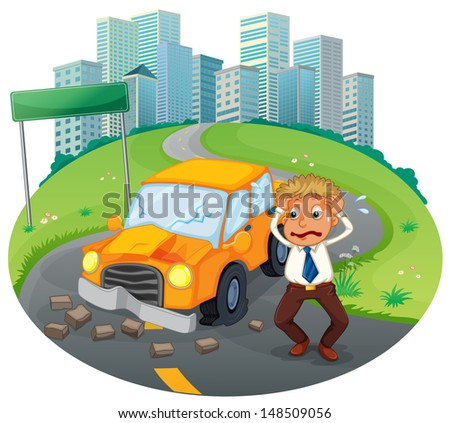Illustration of a car accident at the road near the high buildings on a white background - stock photo