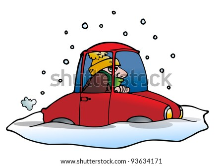 illustration of a car stuck in the snow and ice in isolated white - stock photo