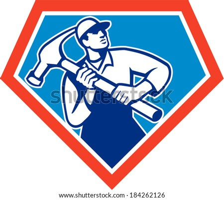 Illustration of a carpenter builder handyman carrying a giant hammer set inside shield crest shape on isolated background done in retro style.  - stock photo