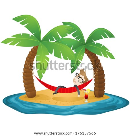 Illustration of a cartoon businessman sleeping in a hammock on the beach of an island (vector also available). - stock photo