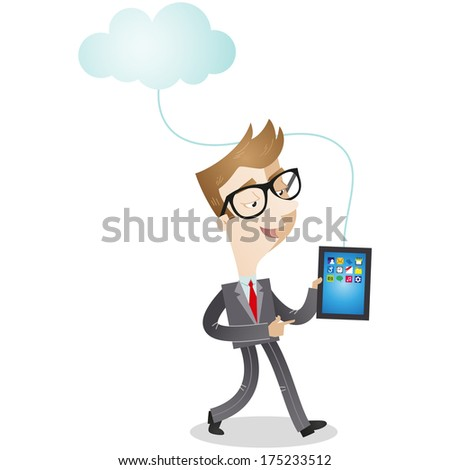 Illustration of a cartoon businessman walking with tablet pc which is connected to a cloud (Vector version also available in my gallery).  - stock photo