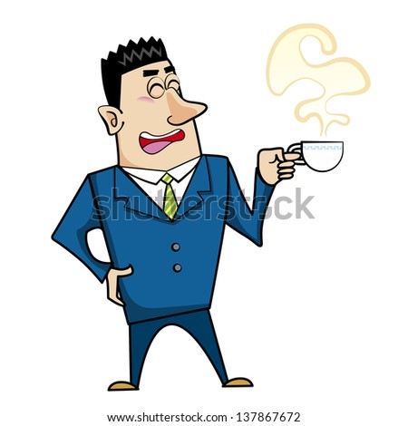 illustration of a cartoon businessman with a coffee cup.