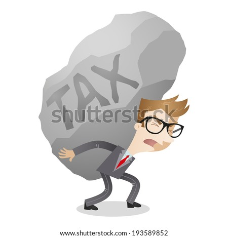 Illustration of a cartoon character: Businessman carrying huge rock labeled tax. - stock photo