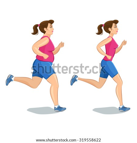 Illustration of a cartoon girl jogging, weight loss, cardio training, health conscious concept running woman, before and after - stock photo