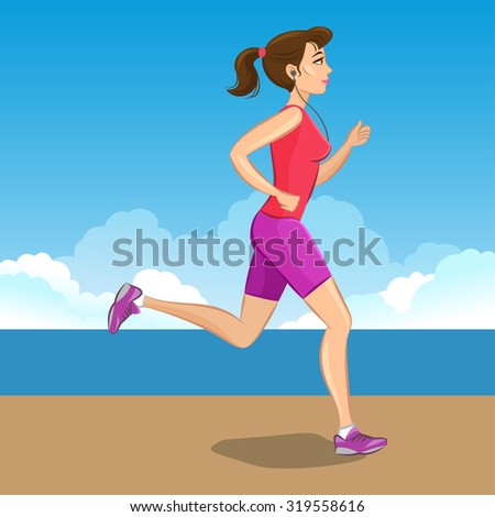 Illustration of a cartoon girl jogging, weight loss concept, cardio training, health conscious concept running woman.  - stock photo