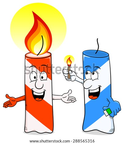 illustration of a cartoon of a birthday candle that ignites another candle - stock photo