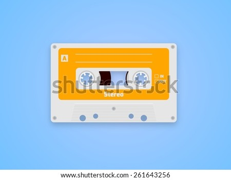 Illustration of a Cassette Tape over a blue background - stock photo