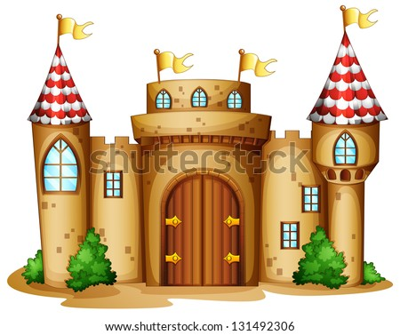 Illustration of a castle with four banners on a white background - stock photo