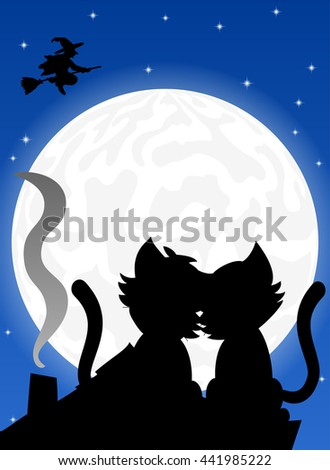illustration of a cat couple on a roof at full moon