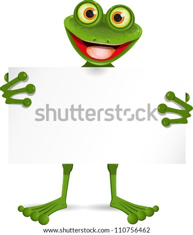 illustration of a cheerful frog with a white plate - stock photo