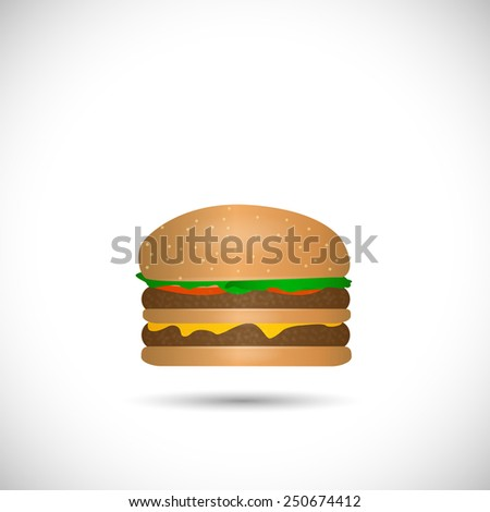 Illustration of a cheese hamburger isolated on a white background. - stock photo