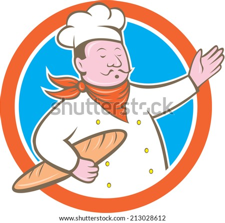 Illustration of a chef cook baker holding baguette bread set inside circle on isolated background done in cartoon style - stock photo