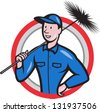 Illustration of a chimney sweeper cleaner worker with sweep broom viewed from front set inside circle done in cartoon style. - stock photo