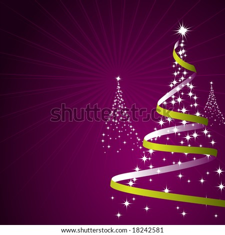 Illustration of a Christmas background with trees made of stars, raster. Vector Image ID: 16732501